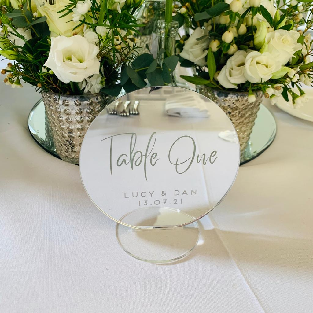 Mirror Table Number Circle - Alternative Collection - Wedding Lux