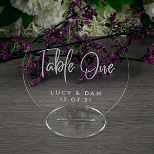 Acrylic Table Numbers Circle - Alternative Collection - Wedding Lux
