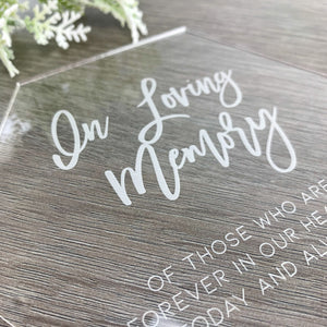 Acrylic Remembrance Sign Hexagon - Romance Collection - Wedding Lux