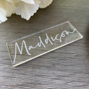 Acrylic Name Places Rectangle - Tiffany Collection - Wedding Lux
