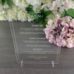 Acrylic Menu A5 Size - Minimalist Collection - Wedding Lux