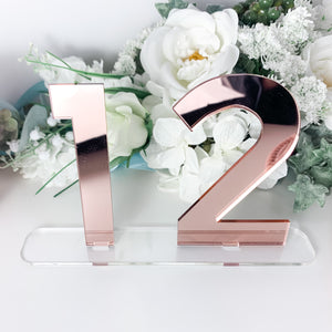Mirror Table Numbers - Available in Rose Gold, Gold and Silver - Wedding Lux