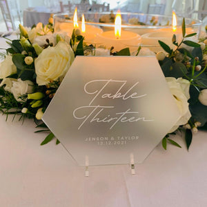 Frosted Acrylic Table Number Hexagon - Opulence Collection - Wedding Lux