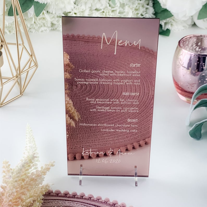 Rose Gold Mirror Menu DL Shape - Elegance Collection - Wedding Lux