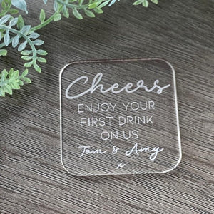 Acrylic Wedding Favour Drinks Token Square - Wedding Lux