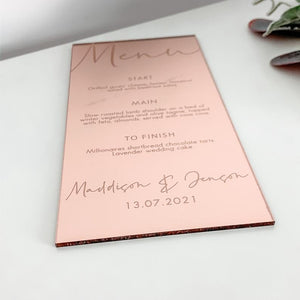 Rose Gold Mirror Menu DL Shape - Tiffany Collection - Wedding Lux