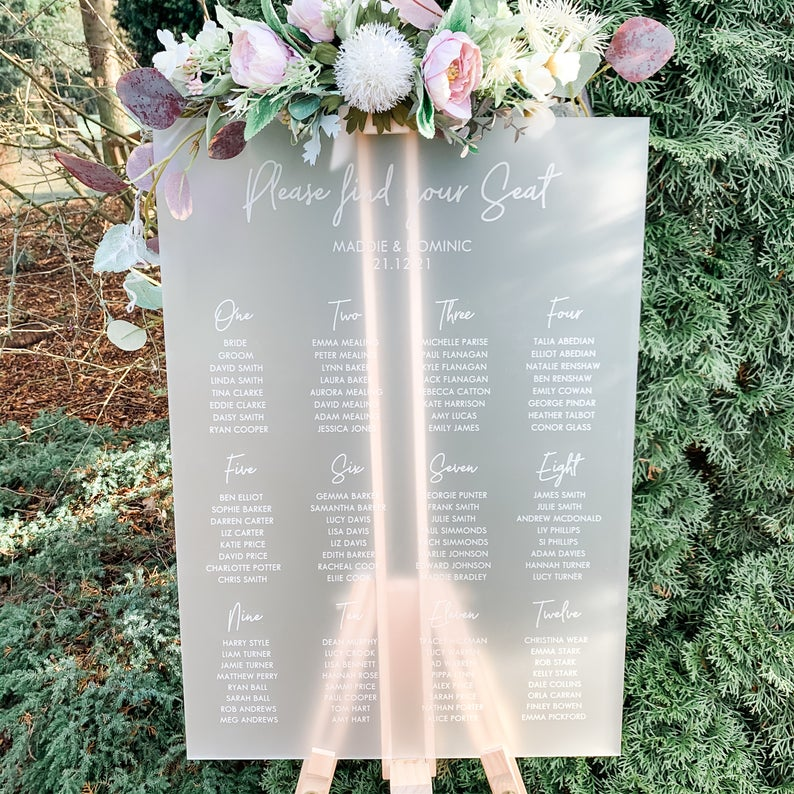 Frosted Acrylic Wedding Table Plan - Wedding Lux