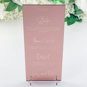 Rose Gold Mirror Menu DL Shape - Alternative Collection - Wedding Lux