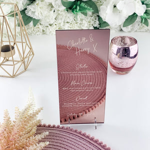 Rose Gold Mirror Menu DL Shape - Signature Collection - Wedding Lux
