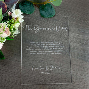 Acrylic Engraved His & Hers Wedding Vows Sign - Wedding Lux