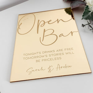 Gold Mirror 'Open Bar' Sign - Tiffany Collection - Wedding Lux