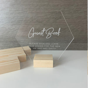 Wooden Holder For Acrylic Signs - Wedding Lux