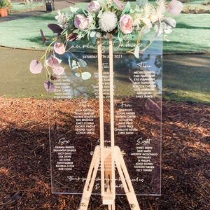 Clear Acrylic Wedding Table Plan - Wedding Lux