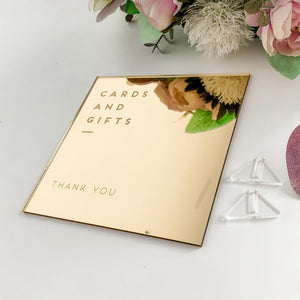 Gold Mirror Cards & Gifts Sign - Wedding Lux
