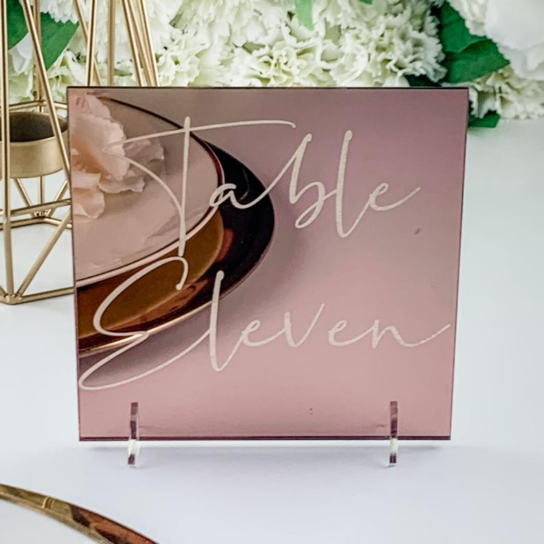 Rose Gold Mirror Table Numbers Square - Tiffany Collection - Wedding Lux
