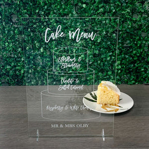 Acrylic Cake Illustration Flavour Sign - Romance Collection - Wedding Lux
