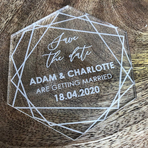 Acrylic Save The Date Hexagon - Geo Collection - Wedding Lux