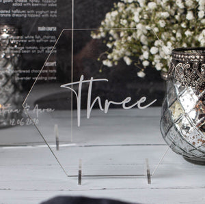 Acrylic Table Number Hexagon - Elegance Collection - Wedding Lux
