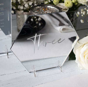 Mirror Table Number Hexagon - Elegance Collection - Wedding Lux
