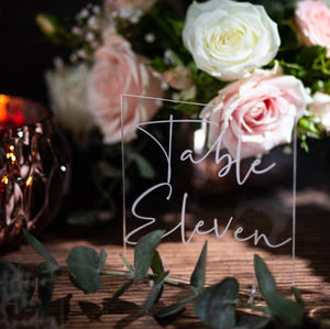 Acrylic Table Number Square - Tiffany Collection - Wedding Lux