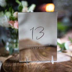 Mirror Table Numbers Rectangle - Tiffany Collection - Wedding Lux