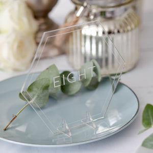 Acrylic Table Numbers Hexagon- Minimalist Collection - Wedding Lux