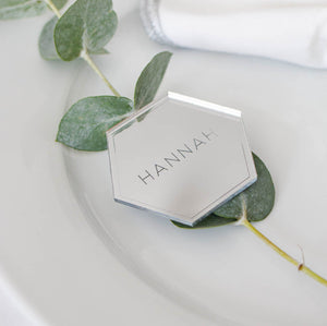 Mirror Place Names Hexagon - Minimalist Collection - Wedding Lux
