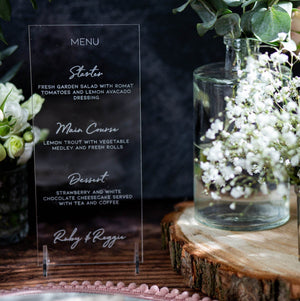 Acrylic Menu DL Shape - Wanderlust Collection - Wedding Lux