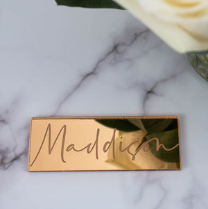 Mirror Place Cards Rectangle - Tiffany Collection - Wedding Lux