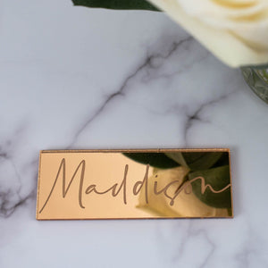 Mirror Place Name Rectangle - Tiffany Collection - Wedding Lux