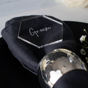 Acrylic Name Place Hexagon - Elegance Collection - Wedding Lux