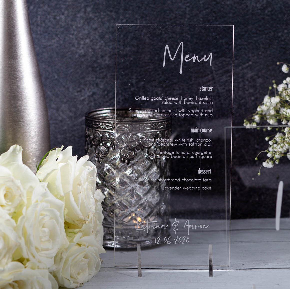 Acrylic Menu DL Shape - Elegance Collection - Wedding Lux