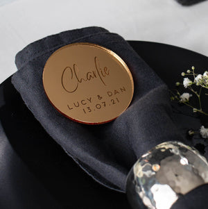 Mirror Place Cards Circle - Alternative Collection - Wedding Lux