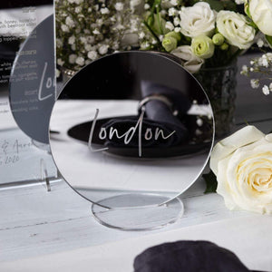 Mirror Table Names Circle - Elegance Collection - Wedding Lux
