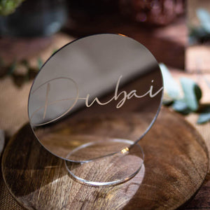 Mirror Table Name Circle - Tiffany Collection - Wedding Lux