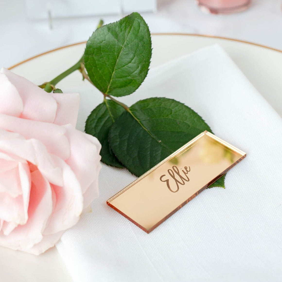 Mirror Place Card Rectangle - Romance Collection - Wedding Lux