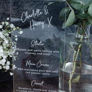 Acrylic Menu DL Shape - Signature Collection - Wedding Lux