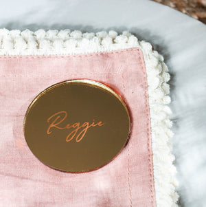 Mirror Place Card Circle - Wanderlust Collection - Wedding Lux