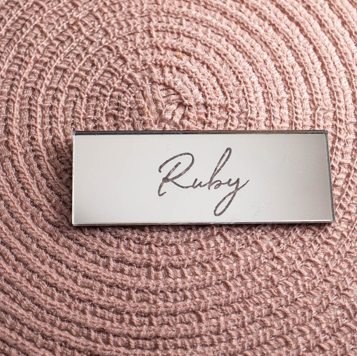 Mirror Place Name Rectangle - Wanderlust Collection - Wedding Lux