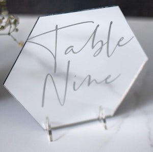 Mirror Table Numbers Hexagon - Tiffany Collection - Wedding Lux
