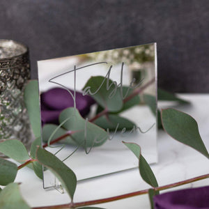 Mirror Table Number Square - Tiffany Collection - Wedding Lux