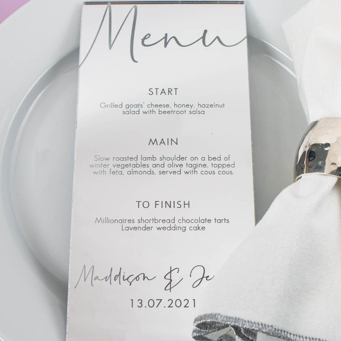 Mirror Menu DL Shape - Tiffany Collection - Wedding Lux