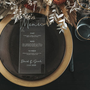 Acrylic Menu DL Shape- Tiffany Collection - Wedding Lux