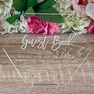 Acrylic Guest Book Plaque Hexagon - Romance Collection - Wedding Lux