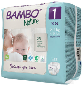 Bambo Nature Eco Nappies - Size 1 (4-9lb/2-4kg)
