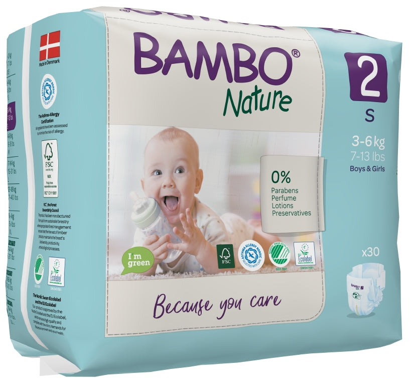 Bambo Nature Eco Nappies - Size 2 (7-13lbs/3-6kg)