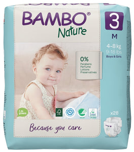 Bambo Nature Eco Nappies - Size 3 (11-20lbs/5-9kg)