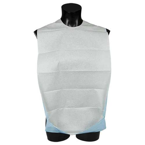 Adult Disposable Clothes Protector with Adhesive Fastening and Reversible Pocket
