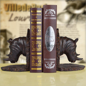 Fashion vintage soft technology decoration rhino resin bookend