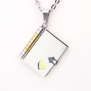 Personalized Name Gold Book Pendant Necklaces For Women